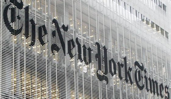 """The New York Times has announced a distinct editorial change in its opinion section. """"Op-ed"""" is out and """"Guest Essay"""" is in. (Associated Press)"""