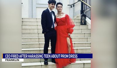 """Franklin High School senior Dalton Stevens poses in a prom dress that prompted then-VisuWell  CEO Sam Johnson to say the outfit made him look like an """"idiot,"""" April 24, 2021. Mr. Johnson was ousted from his position at the Tennessee company within 48 hours. (Image: WGN-9 news Chicago, video screenshot)"""