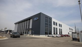 This photo provided by Ford shows Ford Motor Co.s Battery Benchmarking and Test Laboratory in Allen Park, Mich., on April 6, 2021.  (Ford via AP)
