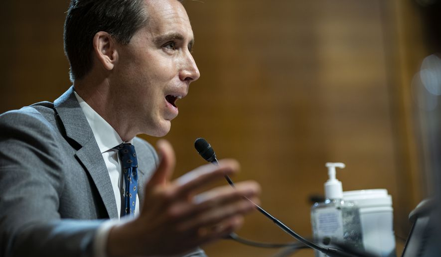 Sen. Josh Hawley, R-Mo., speaks during a hearing of the Senate Judiciary Subcommittee on Privacy, Technology, and the Law, on Capitol Hill, Tuesday, April 27, 2021, in Washington. (Al Drago/Pool via AP)