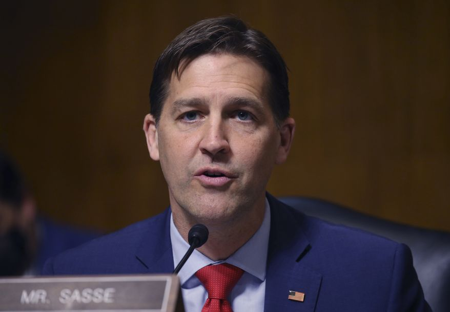 Sen. Ben Sasse, R-Neb., makes his opening statement during a hearing of the Senate Judiciary Subcommittee on Privacy, Technology, and the Law, on Capitol Hill, Tuesday, April 27, 2021, in Washington. (Tasos Katopodis/Pool via AP)