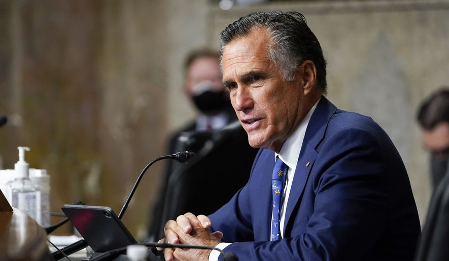 Sen. Mitt Romney, R-Utah, questions Zalmay Khalilzad, special envoy for Afghanistan Reconciliation, before the Senate Foreign Relations Committee on Capitol Hill in Washington, April 27, 2021, during a hearing on the Biden administration's Afghanistan policy and plans to withdraw troops after two decades of war. (AP Photo/Susan Walsh, Pool) ** FILE **