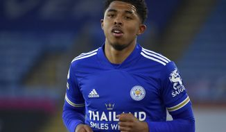 Leicester's Wesley Fofana runs during the English Premier League soccer match between Leicester City and West Bromwich Albion at the King Power Stadium in Leicester, England, Thursday, April 22, 2021. (AP Photo/Rui Vieira,Pool)