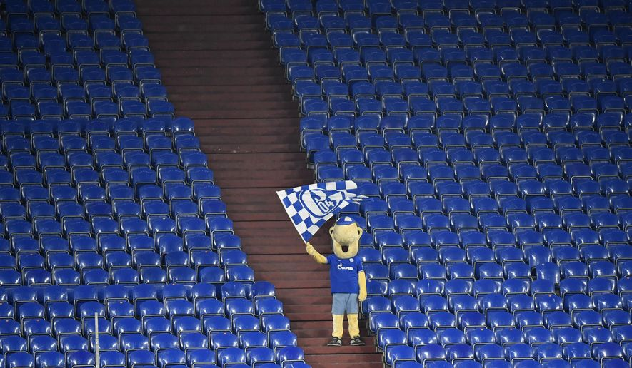FILE - In this Feb.20, 2021 file photo Schalke mascot Erwin waves a team flag from the stands during the German Bundesliga soccer match between FC Schalke 04 and Borussia Dortmund in Gelsenkirchen, Germany. (AP Photo/Martin Meissner, file)