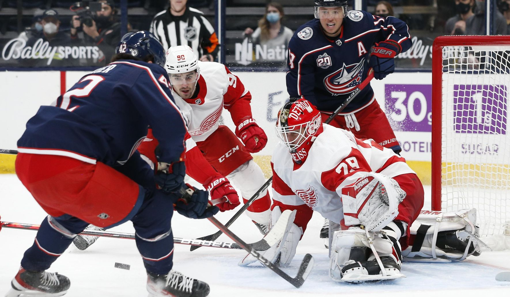 Merzlikins shuts out Red Wings, Blue Jackets win in shootout