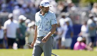 Peter Uihlein reacts after missing a putt on the 17th green during the final round of the PGA Zurich Classic golf tournament at TPC Louisiana in Avondale, La., Sunday, April 25, 2021. (AP Photo/Gerald Herbert)