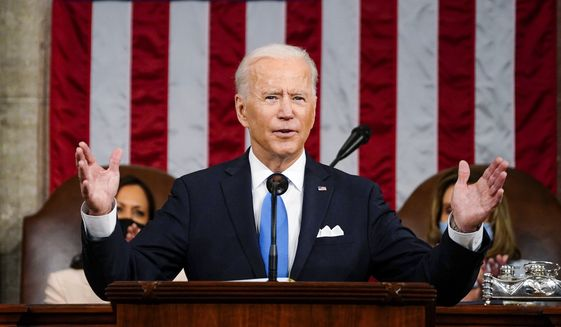 President Joe Biden addresses a joint session of Congress, Wednesday, April 28, 2021, in the House Chamber at the U.S. Capitol in Washington. (Melina Mara/The Washington Post via AP, Pool)