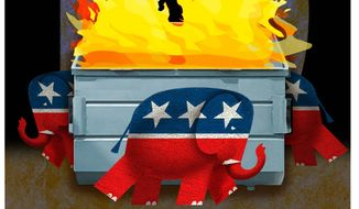 Illustration on the GOP's shallow attacks on Biden policies by Alexander Hunter/The Washington Times