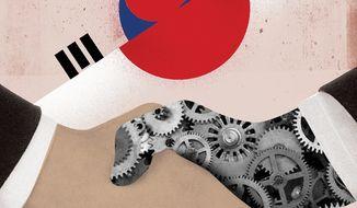South Korea and Japan Cooperation Illustration by Linas Garsys/The Washington Times
