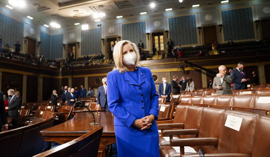 Rep. Liz Cheney, R-Wyo., arrives to the chamber ahead of President Joe Biden speaking to a joint session of Congress, Wednesday, April 28, 2021, in the House Chamber at the U.S. Capitol in Washington. (Melina Mara/The Washington Post via AP, Pool)