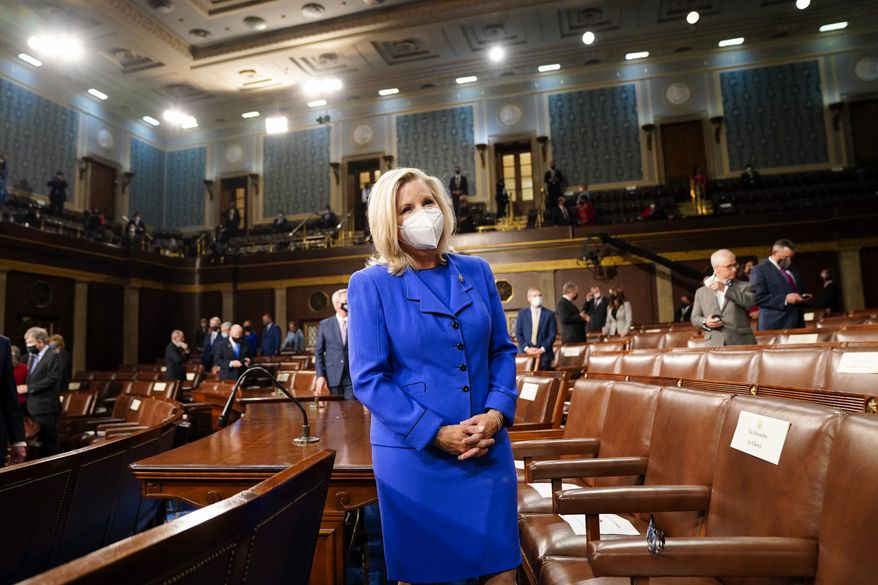 Rep. Liz Cheney, R-Wyo., arrives to the chamber ahead of President Joe Biden speaking to a joint session of Congress, Wednesday, April 28, 2021, in the House Chamber at the U.S. Capitol in Washington. (Melina Mara/The Washington Post via AP, Pool) ** FILE **