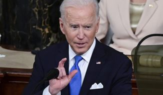 President Joe Biden addresses a joint session of Congress, Wednesday, April 28, 2021, in the House Chamber at the U.S. Capitol in Washington.  (Jim Watson/Pool via AP)
