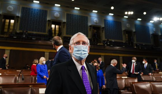 Senate Minority Leader Mitch McConnell of Ky., arrives ahead of President Joe Biden speaking to a joint session of Congress, Wednesday, April 28, 2021, in the House Chamber at the U.S. Capitol in Washington. (Melina Mara/The Washington Post via AP, Pool)