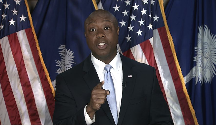 In this image from Senate Television video, Sen. Tim Scott, R-S.C., delivers the Republican response to President Joe Biden's speech to a joint session of Congress on Wednesday, April 28, 2021, in Washington. (Senate Television via AP)