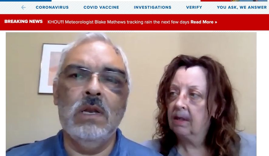 David DeHoyos and his wife Lisa discuss an April 17 attack by a hammer-wielding suspect. Mr. DeHoyos shot the home intruder multiple times in order to survive the attack. (Image: KHOUS-11 CBS video screenshot)