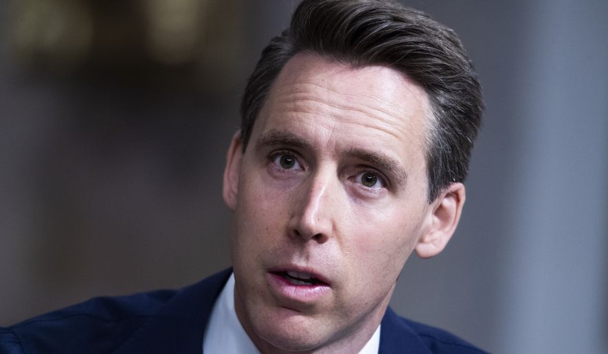 Sen. Josh Hawley, R-Mo., asks a question during the Senate Judiciary Committee confirmation hearing in Dirksen Senate Office Building in Washington, Wednesday, April 28, 2021. Ketanji Brown Jackson, nominee to be U.S. Circuit Judge for the District of Columbia Circuit, and Candace Jackson-Akiwumi, nominee to be U.S. Circuit Judge for the Seventh Circuit, testified on the first panel. (Tom Williams/Pool via AP) **FILE**