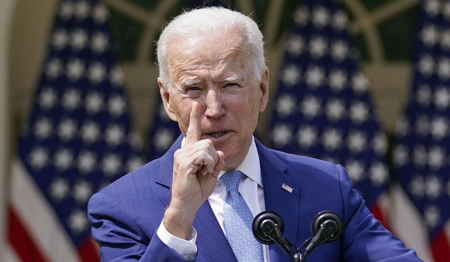 In this April 8, 2021, file photo, President Joe Biden gestures as he speaks about gun violence prevention in the Rose Garden at the White House in Washington. Biden will mark his 100th day in office on Thursday, April 29. (AP Photo/Andrew Harnik, File)