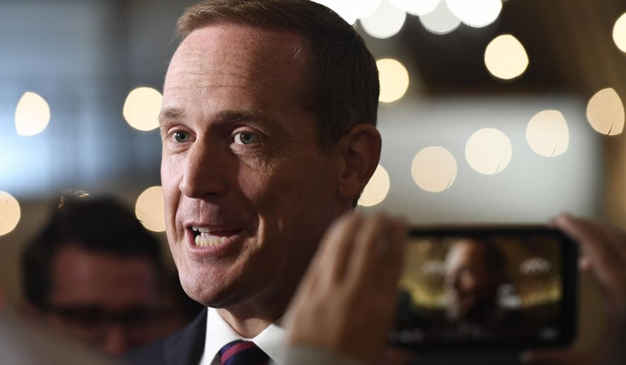 In this Nov. 6, 2018, photo, Rep. Ted Budd, North Carolina Republican, answers questions from the media at his election party in Bermuda Run, N.C. (AP Photo/Woody Marshall) **FILE**