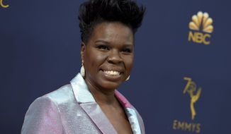 """FILE - This Sept. 17, 2018 file photo shows Leslie Jones at the 70th Primetime Emmy Awards in Los Angeles. Jones will host the 2021 """"MTV Movie & TV Awards. (Photo by Jordan Strauss/Invision/AP, File)"""