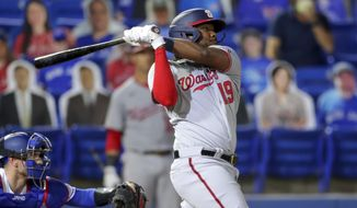 Washington Nationals' Josh Bell follows through on a two-run home run against the Toronto Blue Jays during the fifth inning of a baseball game Wednesday, April 28, 2021, in Dunedin, Fla. (AP Photo/Mike Carlson) **FILE**