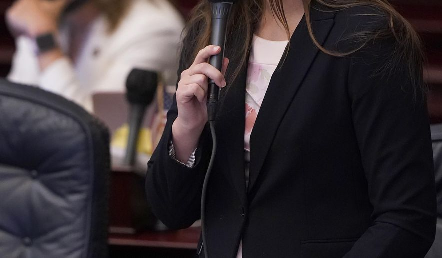 Florida Rep. Kaylee Tuck speaks during a legislative session, Wednesday, April 28, 2021, at the Capitol in Tallahassee, Fla. (AP Photo/Wilfredo Lee)