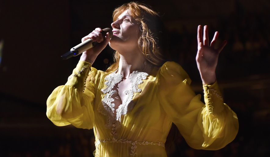 """FILE - Florence Welch of Florence + The Machine performs during """"The High As Hope Tour"""" in Chicago on Oct 19, 2018. Welch is supplying the lyrics and co-writing music for a stage musical of """"The Great Gatsby,"""" it was announced Wednesday. She will collaborate on the music with Thomas Bartlett. The story writer is Martyna Majok, who was awarded the 2018 Pulitzer Prize for Drama for """"Cost of Living."""" (Photo by Rob Grabowski/Invision/AP, File)"""