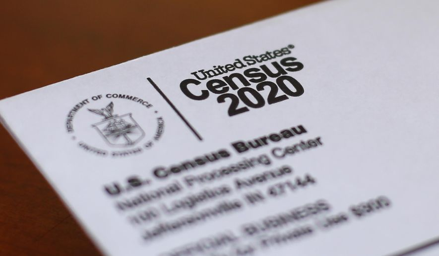 This April 5, 2020, file photo shows an envelope containing a 2020 census letter mailed to a U.S. resident in Detroit. (AP Photo/Paul Sancya, File)  **FILE**