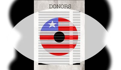Illustration on Supreme Court and the donor information case by Alexander Hunter/The Washington Times