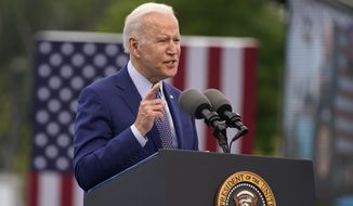 President Joe Biden speaks during a rally at Infinite Energy Center, to mark his 100th day in office, Thursday, April 29, 2021, in Duluth, Ga. (AP Photo/Evan Vucci)
