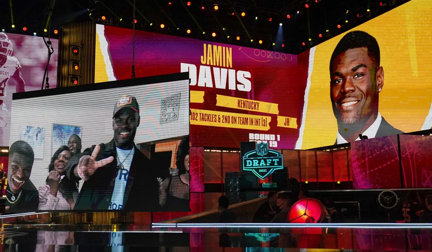 Images of Kentucky linebacker Jamin Davis are shown on stage after he was chosen by the Washington Football Team with the 19th pick in the first round of the NFL football draft Thursday April 29, 2021, in Cleveland. (AP Photo/Tony Dejak)