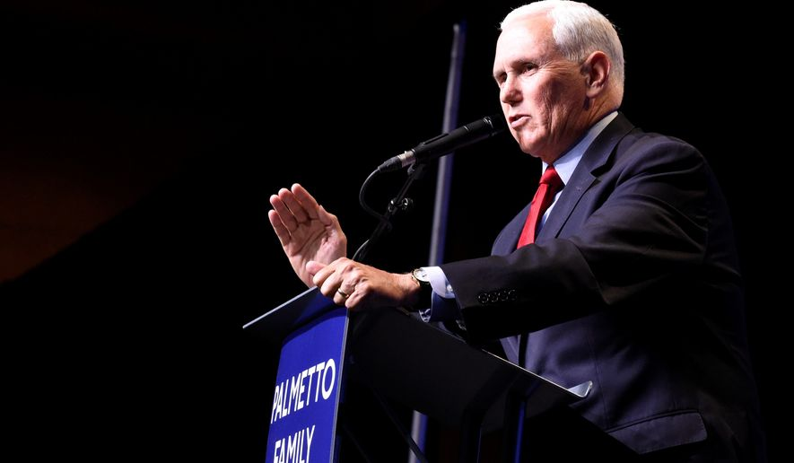 In his first public speech since leaving office, former Vice President Mike Pence speaks at a dinner hosted by Palmetto Family on Thursday, April 29, 2021, in Columbia, S.C. (AP Photo/Meg Kinnard/File)