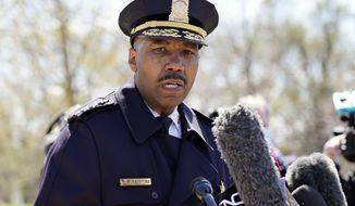 Washington Metropolitan Police Department Chief Robert J. Contee III speaks during a news conference in Washington. (AP Photo/Alex Brandon)