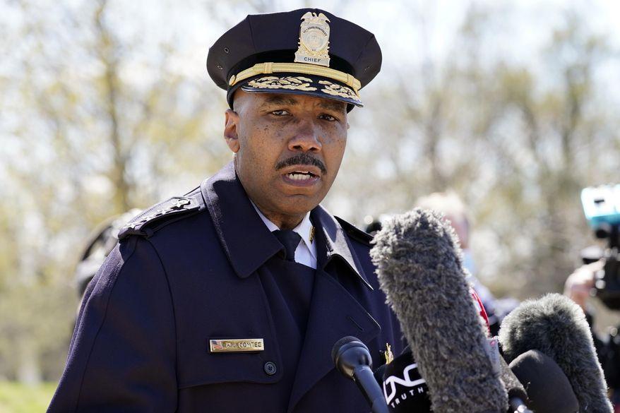 Washington Metropolitan Police Department Chief Robert J. Contee III speaks during a news conference in Washington. (AP Photo/Alex Brandon) ** FILE **