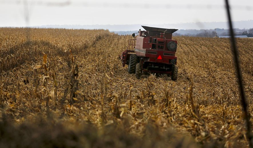 In this Dec. 4, 2017, file photo, a farmer harvests crops near Sinsinawa Mound in Wisconsin. A group of Midwestern farmers sued the federal government Thursday, April 29, 2021, alleging they can't participate in a COVID-19 loan forgiveness program because they're White. The group of plaintiffs includes farmers from Wisconsin, Minnesota, South Dakota and Ohio. According to the lawsuit, the Biden administration's COVID-19 stimulus plan provides $4 billion to forgive loans for socially disadvantaged farmers and ranchers who are Black, American Indian, Hispanic, Alaskan native, Asian American or Pacific Islander. (Eileen Meslar/Telegraph Herald via AP, File)