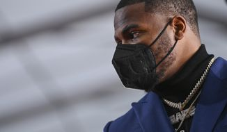 Penn State linebacker Micah Parsons appears on the red carpet at the Rock & Roll Hall of Fame before the NFL football draft, Thursday, April 29, 2021, in Cleveland. (AP Photo/David Dermer, Pool)