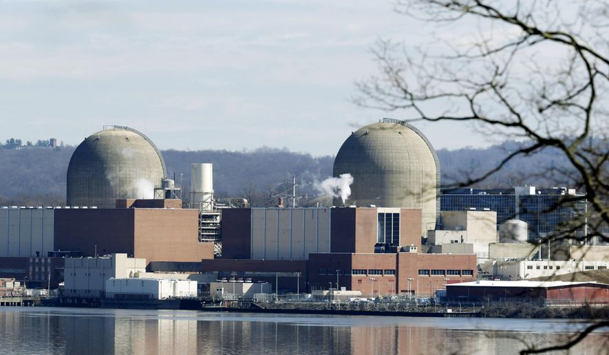 This Feb. 28, 2017, file photo shows Indian Point Energy Center in Buchanan, N.Y. Indian Point will permanently stop producing nuclear power on Friday, April 30, 2021, capping a long battle over a key source of electricity for nearby New York City that opponents called a safety threat to millions in the densely packed metropolitan region. (AP Photo/Seth Wenig, File)