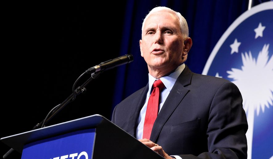 In his first public speech since leaving office, former Vice President Mike Pence speaks at a dinner hosted by Palmetto Family on Thursday, April 29, 2021, in Columbia, S.C. (AP Photo/Meg Kinnard) ** FILE **