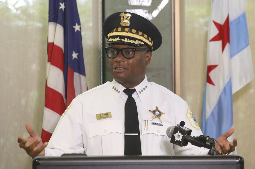 FILE - Chicago Police Superintendent David Brown speaks at a news conference on Monday, July 27, 2020 in Chicago. Chicago's civilian police oversight agency announced Thursday, April 29, 2021 it has completed a 16-month investigation into a wrongful 2019 raid during which social worker Anjanette Young was forced to stand naked and handcuffed. COPA says it has delivered its findings and recommendations to Superintendent Brown, but won't reveal them until he has reviewed them. (AP Photo/Teresa Crawford, file)