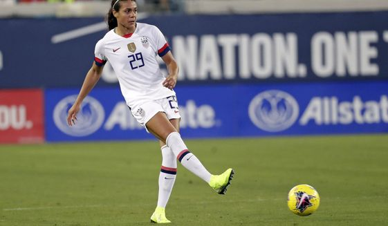 FILE  - In this Sunday, Nov. 10, 2019 file photo, United States defender Alana Cook (29) passes the ball during the first half of an international friendly soccer match against Costa Rica, in Jacksonville, Fla.  Cook joined an exclusive club when she nodded in a goal for Paris Saint-Germain against Barcelona on Sunday, April 25, 2021. Megan Rapinoe, Christen Press and Carli Lloyd are the only other American internationals to have scored at the semifinals or finals of the Women's Champions League. (AP Photo/John Raoux, File)