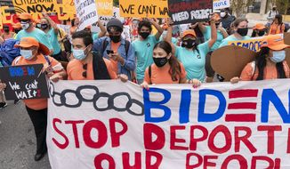 Supporters of immigration reform march while asking for a path to citizenship and an end to detentions and deportations, Wednesday, April 28, 2021, in Washington. (AP Photo/Jacquelyn Martin) **FILE**