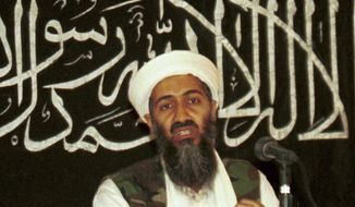 Osama bin Laden is seen at a news conference in Khost, Afghanistan. (AP Photo/Mazhar Ali Khan, File)