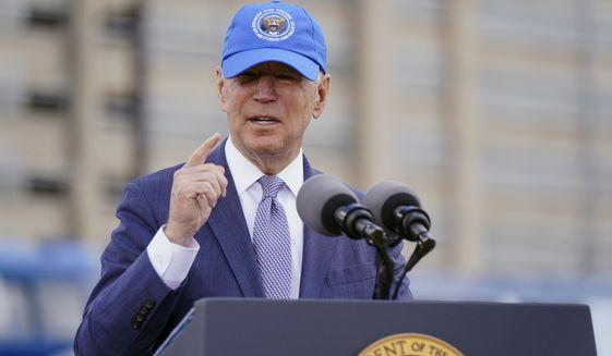 President Joe Biden speaks during an event to mark Amtrak's 50th anniversary at 30th Street Station in Philadelphia, Friday, April 30, 2021. (AP Photo/Patrick Semansky)
