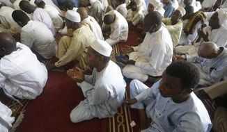 Muslims perform Friday prayers during the holy fasting month of Ramadan, at a Grand mosque in N'Djamena, Chad, Friday, April 30, 2021. (AP Photo/Sunday Alamba)