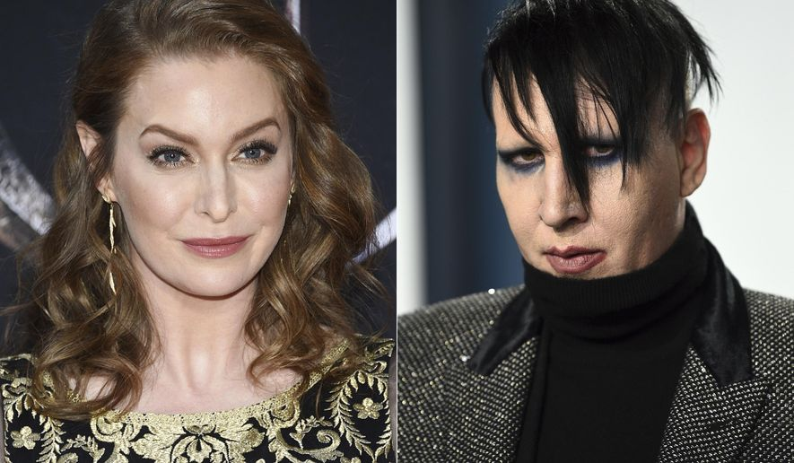 """In this combination photo, actress Esmé Bianco appears at HBO's """"Game of Thrones"""" final season premiere in New York on April 3, 2019, left, and musician Marilyn Manson appears at the Vanity Fair Oscar Party in Beverly Hills, Calif. on Feb. 9, 2020. Bianco has sued Marilyn Manson alleging sexual, physical and emotional abuse. She filed the lawsuit in federal court in Los Angeles on Friday, April 30, 2021. (Photos by Evan Agostini/Invision/AP)"""