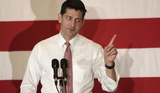In this Oct. 17, 2018, file photo, U.S. House Speaker Paul Ryan speaks during a campaign event in Hanover, N.J.   (AP Photo/Julio Cortez, File)  **FILE**