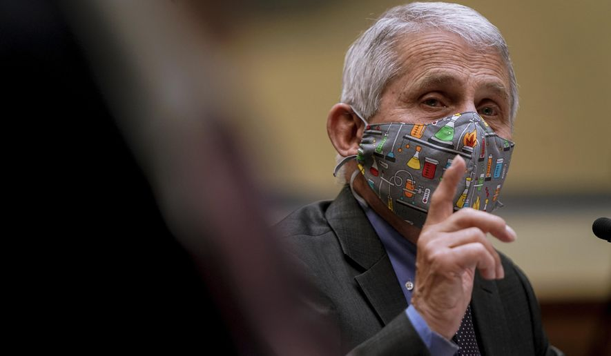 Dr. Anthony Fauci, director of the National Institute of Allergy and Infectious Diseases, speaks during a House Select Subcommittee hearing on Capitol Hill in Washington, Thursday, April 15, 2021, on the coronavirus crisis. (Amr Alfiky/The New York Times via AP, Pool) **FILE**