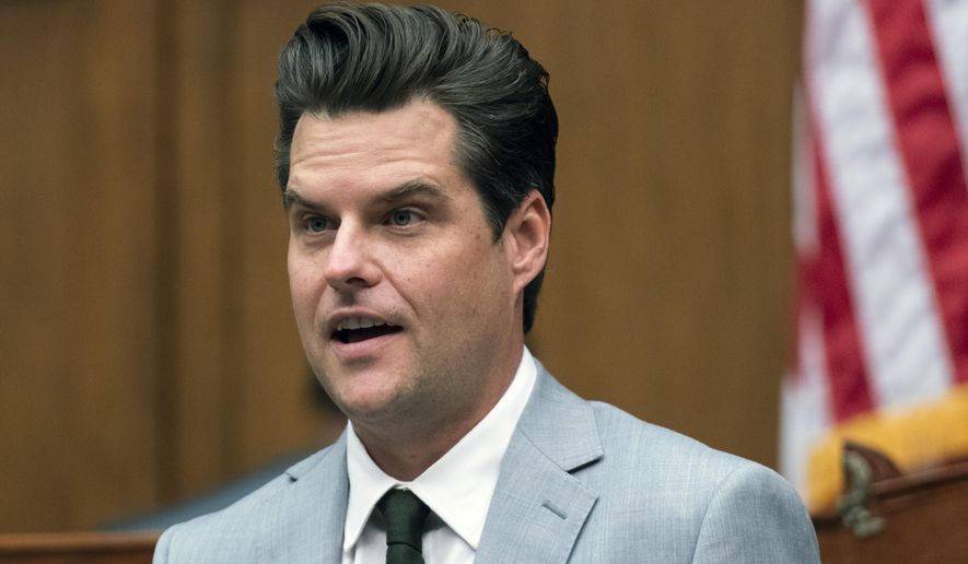 In this April 14, 2021, file photo, Rep. Matt Gaetz, R-Fla., questions a witness during a House Armed Services Committee hearing on Capitol Hill in Washington. (AP Photo/Manuel Balce Ceneta, File)