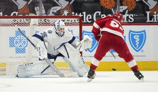 Detroit Red Wings center Sam Gagner (89) scores a shootout goal against Tampa Bay Lightning goaltender Curtis McElhinney (35) in an NHL hockey game Saturday, May 1, 2021, in Detroit. Detroit won 1-0. (AP Photo/Paul Sancya)