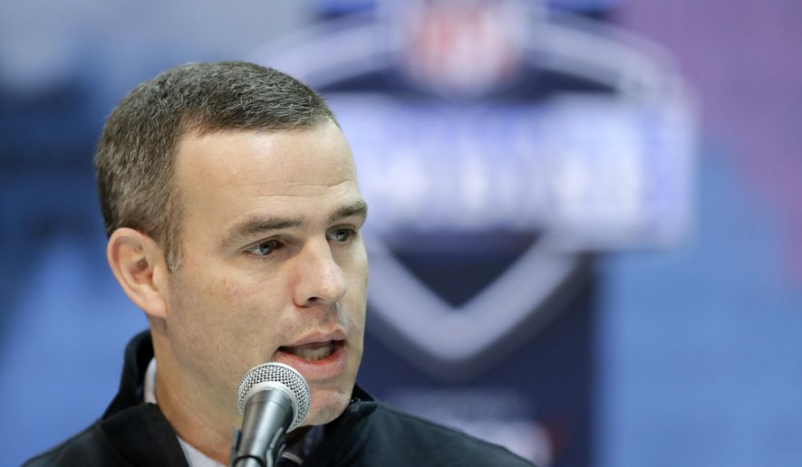 FILE - In this Feb. 28, 2019, file photo,Buffalo Bills general manager Brandon Beane speaks during a press conference at the NFL football scouting combine in Indianapolis. The heavy lifting is hardly done for Beane after the Bills general manager completed making much-needed upgrades to Buffalo's pass rush, and restocking the roster's depth at the NFL draft this weekend (AP Photo/Darron Cummings, File)