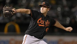 Baltimore Orioles pitcher John Means works against the Oakland Athletics during the seventh inning of a baseball game Friday, April 30, 2021, in Oakland, Calif. (AP Photo/Tony Avelar)